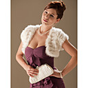 Short Sleeves Rabbit Fur Special Occasion Evening Jacket/ Wrap Bolero Shrug