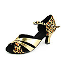 Non Customizable Women's Dance Shoes Latin/Ballroom Satin/Leatherette Stiletto Heel Leopard