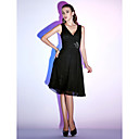 homecoming cocktail party / liburan dress - hitam-line / putri v-neck selutut sifon