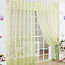 (Two Panels) Country Green Print Sheer Curtain