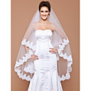 One-tier Tulle Fingertip Veil With Lace Applique Edge (More Colors Available)