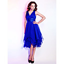 Homecoming Cocktail Party/Holiday/Wedding Party Dress - Royal Blue Plus Sizes A-line/Princess V-neck Knee-length Chiffon