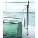 Bathtub Faucet - Contemporary - Handshower Included / Floor Standing - Brass (Chrome)