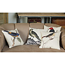 Linen and Cotton Pillow Cover with Birds Decoration (Set of 4)