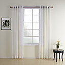 Jacquard White Contemporary Sheer Curtain (Two Panels)