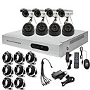 Ultra Low Price 8CH CCTV DVR Kit (H. 264, 4 Outdoor Waterproof& 4 Indoor IR Cameras)