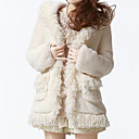 Long Sleeve Office/Career Faux Fur Coat