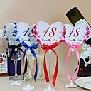 Place Cards and Holders Flower Theme Heart Shape Table Number Cards With Holders - Set Of 10(More Colors)