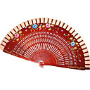 Pretty Floral Wooden Hand Fan - Set of 4 (More Colors)