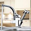 Kitchen Faucet Contemporary Pullout Spray Brass Chrome