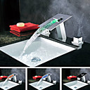 Moderne Vandfald LED farveskiftende Chrome Waterfall Bathroom Sink Faucet