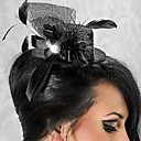 Lindo Net Preto Com fascinators Mulheres Feather