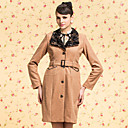 TS VINTAGE Floral Decor Collar Belted Tweed Coat