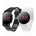 Pair of Sports Style Red LED Jelly Wrist Watches - Black & White