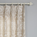 (Two Panels) Floral Linen/Cotton Jacquard Eco-friendly Curtain