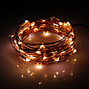 5M 50-LED lämmin valkoinen Copper Wire stringit Fairy Light AC adapteri (100-240V)