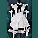 Short Sleeve Knee-length Black and White Satin Classic Lolita Maid Outfit with Bow