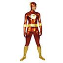 Punainen ja kulta Flash Kiiltävä Metallic Super Hero Zentai Suit