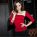 Women's Contrast Color Square Collar Shirt