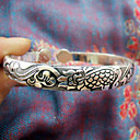 Women's Dragon Carved Pattern Silver Slim Bracelet