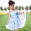 Flower Girl Dress - Linha-A/Baile/Princesa Coquetel Sem Mangas Tule