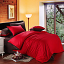 4-Piece Red & Brown Print Cotton Duvet Cover Set