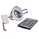 3W 1 Højeffekts-LED 180 lm RGB Nedfaldende retropasform Fjernstyret Loftslys AC 85-265 V