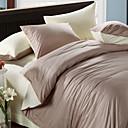 4-Piece Khaki & Beige Print Cotton Duvet Cover Set
