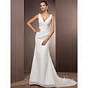 Trumpet/Mermaid Petite / Plus Sizes Wedding Dress - Ivory Court Train V-neck Chiffon