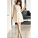 Women's Elegant Lace Embroidery Pleated A-line Midi Dress