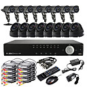 Ultra 16CH D1 Real Time H.264 CCTV DVR Kit (16 420 TVL utendørs og innendørs Night Vision CMOS kameraer)