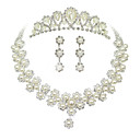 Makea Silver Pearl Metal Tiara korvakorut kaulakoru Wedding Set