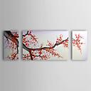 pittura a olio floreale fiori di ciliegio fiori di prugna rosso con cornice allungata di 3 1307-fl0164 tela dipinto a mano