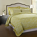 3Pcs 100 Cotton 250Tc Gold Life Floral Duvet Cover Set