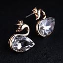 Women's Korean Version Twinkle Black Diamond Crystal Swan Earrings(random color)