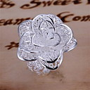 Fashion Messing Silver Plated Tre lag Flower Kvinders Ringe