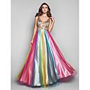 A-Line/Princess v-yaka zemin uzunlukta çok renkli saten ve tül akşam / balo elbisesi