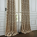(Two Panels) Michelle Luxury® Rococo Beige Floral Polyester Energy Saving Curtain