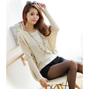 Women's Beige/Black/Pink/Red Pullover , Casual/Cute Long Sleeve