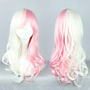 Dangan Ronpa Monomi Pink and White Mixed Cosplay Curly Wig
