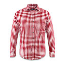 Red White Plaid Pattern Slipat 20% Bomull 80% Terylene Mens Casual skjorta