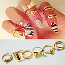 7pcs Skull Bowknot Heart Nail Simple Band Mid Finger Top Stacking Rings Set