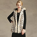 bont vest met capuchon zonder mouwen in faux fur party / casual vest