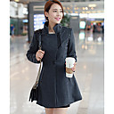 Women's Black Trench Coat , Casual Wool Blends