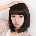 Capless Curta Bob Alta Qualidade Sintética Natural preto reto peruca de cabelo bang completa
