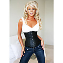 Faux Leather Front Busk Closure And Lace-up Corset Shapewear Sexy Lingerie Shaper