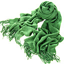 Acrylic Fiber Twill Green Warm Winter Scarf with Tassels