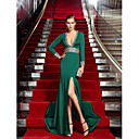 Formal Evening Dress - Dark Green Plus Sizes Sheath/Column V-neck Sweep/Brush Train Jersey