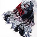 Classique Big Plaid fibre acrylique Rouge + Noir + beige chaud hiver châle / écharpe à glands