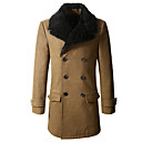 Men'S Double Breasted Long Woolen Collar Coat